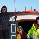 Rune, Merete og Per på vei mot Henningsvær